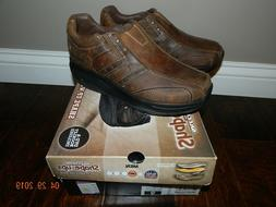 NIB Men's Skechers SHAPE-UPS Brown Leather Shoes Size 9 NW