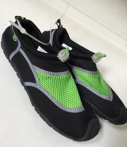 NWOT Champion Boys Swim Shoes Black Green Size 6 XL