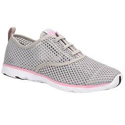 ALEADER Women's Quick Drying Aqua Water Shoes Light Gray/Pin