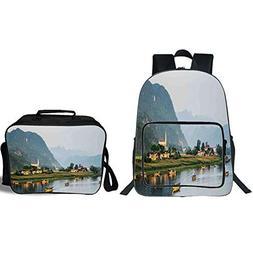 """iPrint 19"""" School Backpack & Lunch Bag Bundle,Landscape,Calm"""