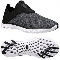 Aleader Men's Slip-on Athletic Water Shoes Black/Gray 11'd M