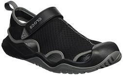 Crocs Men's Swiftwater Mesh Deck Sandal Sport, Black, 12 M U