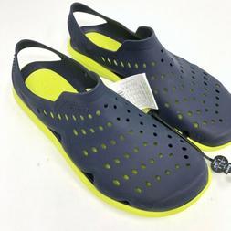 Crocs Swiftwater Wave Men's 9 Navy Yellow Water Shoes New