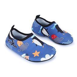 L-RUN Children's Swim Water Shoes Barefoot Aqua Socks for Be