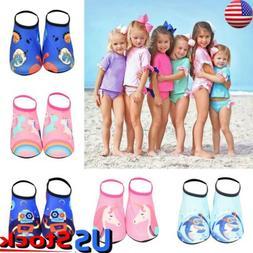 US Kids Boys Girls Non-slip Aqua Socks Beach Water Shoes Div