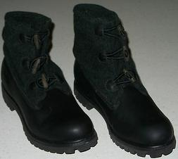 TIMBERLAND Water Proof LEATHER WOOL ROLL-TOP BOOTS NEW BLACK