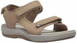 CLARKS Women's Brizo Sammie Flat Sandal, Tan, Size 7.0 t1KD