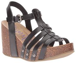 Blowfish Women's Humble Wedge Sandal, Black Dyecut Pu, 10 M