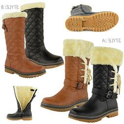 WOMENS LADIES FLAT CALF KNEE HIGH QUILTED FUR LINED WINTER S