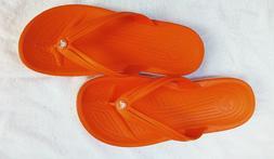 Women's Crocs Orange Flip Flop Sandals Beach Or Water Shoe